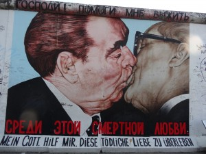 the kiss, east side gallery, berlin wall, germany