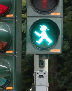 green ampleman east german traffic light man