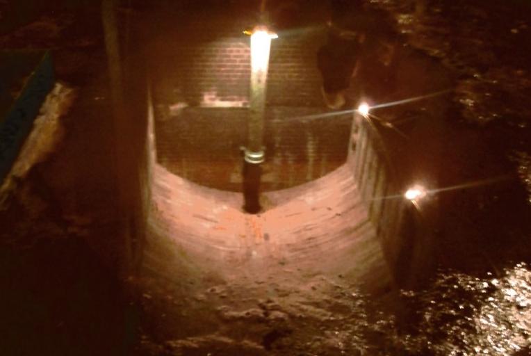 water reflections, underground reservoir, clayton, lancashire